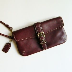 Coach Deep Red Leather Wristlet